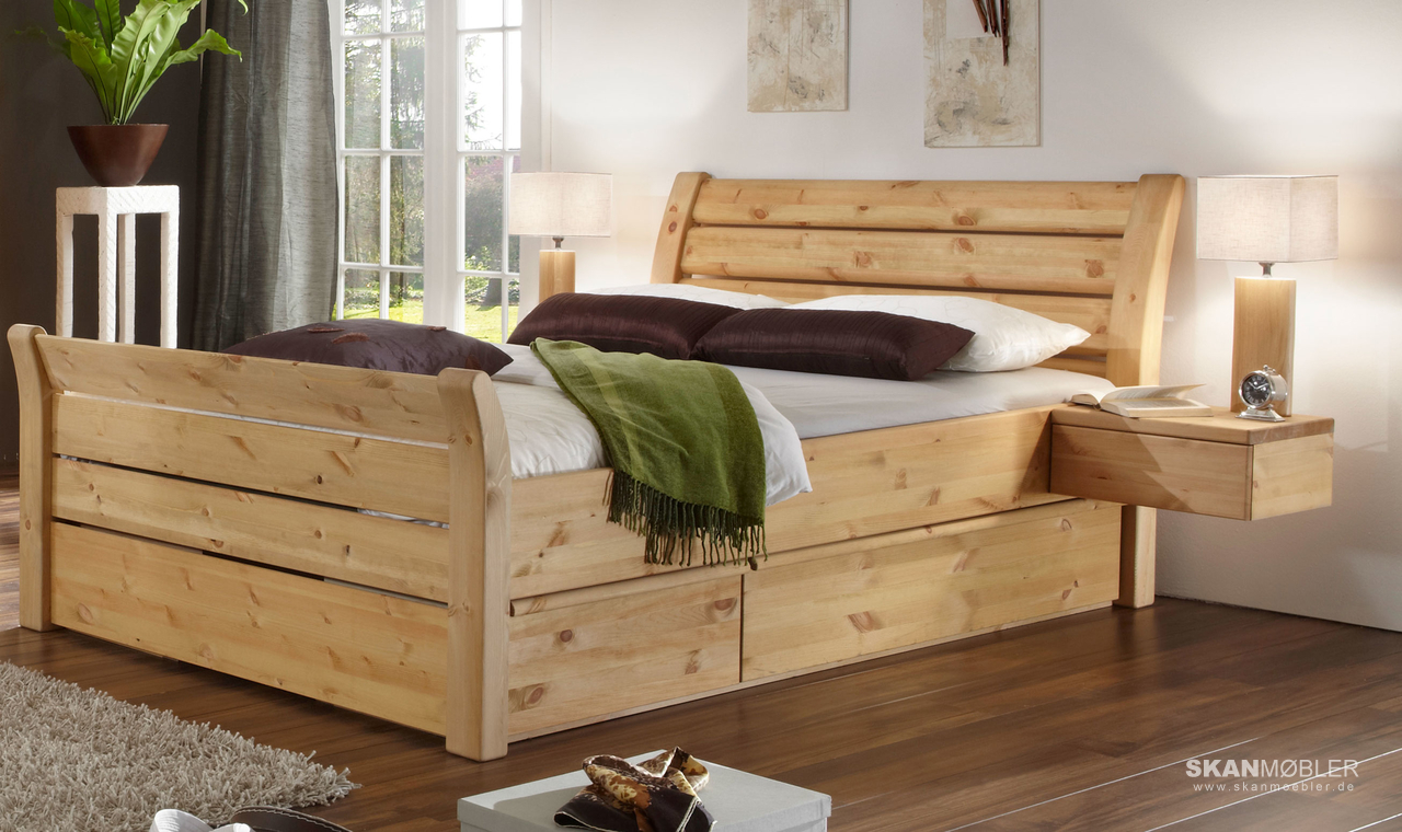schlafzimmer bett greta kiefer massiv von pinus g nstig bestellen bei skanm bler. Black Bedroom Furniture Sets. Home Design Ideas