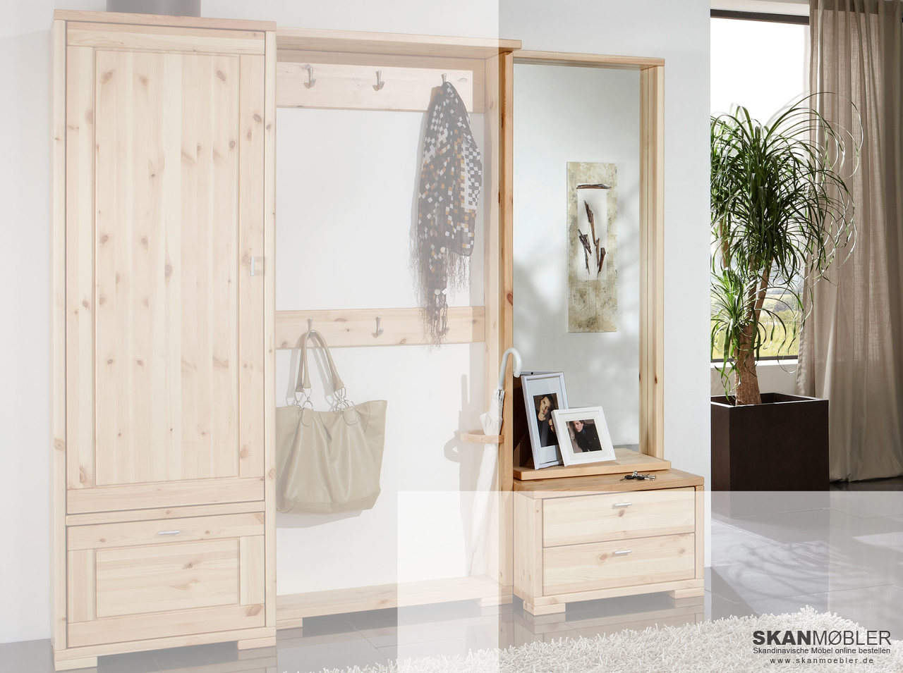 spiegelpanel f r garderobe guldborg von pinus g nstig bestellen bei skanm bler. Black Bedroom Furniture Sets. Home Design Ideas
