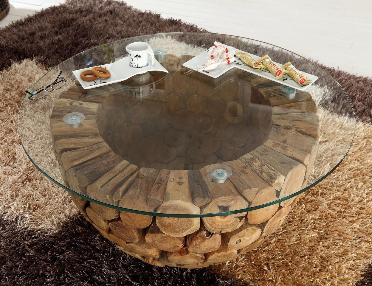 Teakholz Couchtisch Mosaik mit Glasplatte Unikat von Henke